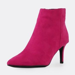 Shoes - Faux Suede Hot Pink Booties Pointed Toe Size 10
